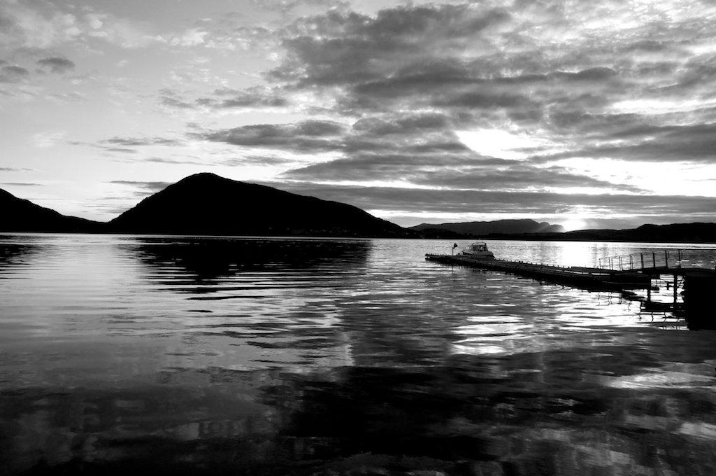 Fjord Sunset Black White